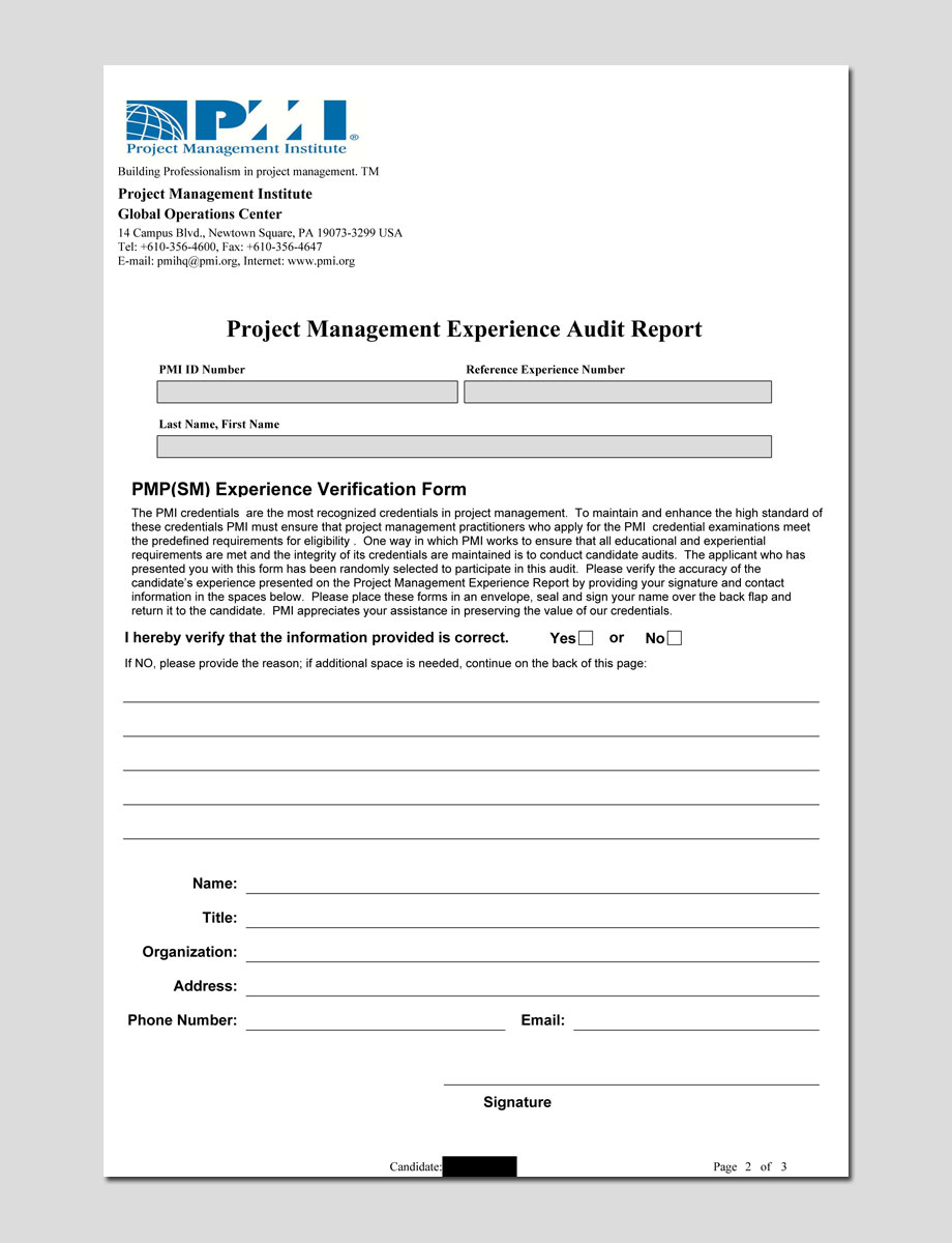 Pmi pmp audit process the definitive pmp guide pmp audit form xflitez Gallery