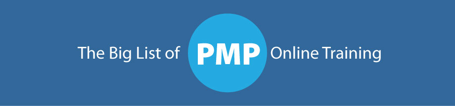 graphic showing the title of the article - big list of online pmp training