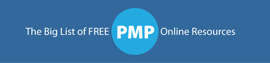 graphics showing the title of the page - a big list of free pmp certification online resources