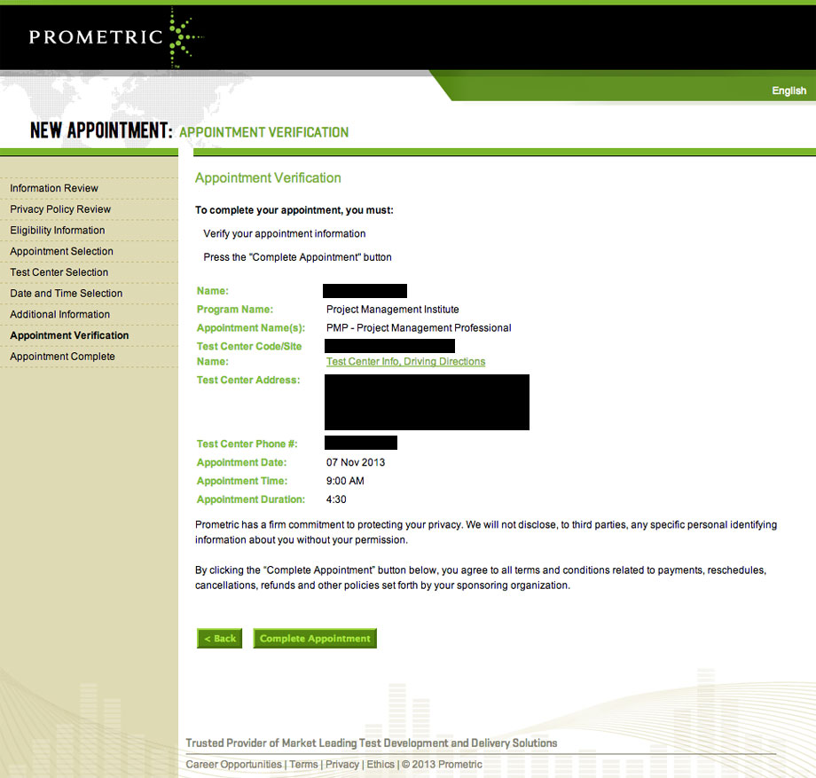 pmp prometric appointment